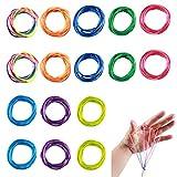 ZITFRI 16 Pcs Corde à Doigts pour Jeu de Ficelle - Rainbow Rope Corde à Doigts Cats Cradle Corde Strings Jouet Elastique pour Enfant