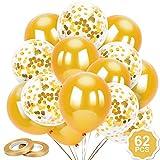 Qpout 62 Piezas 12 Pulgadas Globos de látex Globos de Confeti Globos de Helio Blancos Dorados Artículos de Fiesta para cumpleaños con temática Dorada Pirata Baby Shower Boda Despedida de Soltera