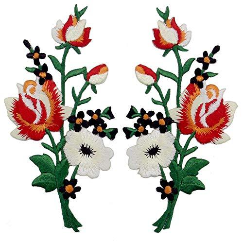 Aufnäher, bestickt, Design: Retro Blumen Strauß Boho Rose, zum Aufbügeln oder Aufnähen, rot-Weiss