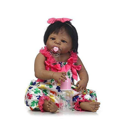 GAOFQ Cuerpo Completo de Silicona Reborn Baby Black Girl Doll Toys 57cm 23inch Reborn Toddlers India Girl Muñeca de baño Niños