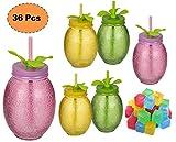 ML Pack de 6 Vasos de Cristal con Forma de Fruta con Cierre de Rosca y Pajita de plástico con Hoja, tamaño 14x9cm y Capacidad 570ml + 12...