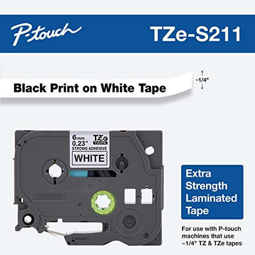 Best Price Square Tape, Black on White, 6MM TZE-S211 by Brother