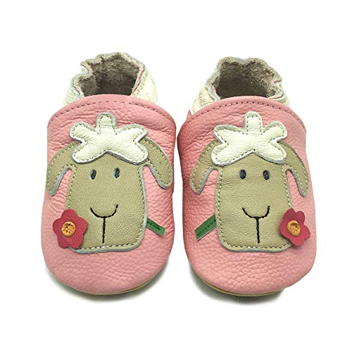 LSHEL Weicher Leder Lauflernschuhe Krabbelschuhe Babyhausschuhe Kleinkind Lederschuhe Jungen und Mädchen 6-24 Monate, Schafe, 6-12 Monate