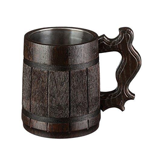 Beer Mug / Wooden Beer Mug / Tankard / Wood Mug By WoodenGifts - 0.6 Litres Or 20oz Wooden Mug - Wooden Coffee Mug with Stainless Steel Cup Inside (Dark Brown)