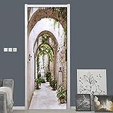 Pegatinas de puerta 3D Pegatinas de arco creativas abstractas, pegatina de pared para puerta, Mural DIY, dormitorio,decoración del hogar, póster, PVC, pegatina de puerta impermeable, imitación90x200cm