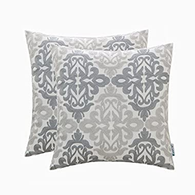 Set of 2 HWY 50 Couch Throw Pillows Covers 18 x 18 inch , Linen Embroidered Home Decorative Grey Geometric Throw Pillows Cases For Sofa / Bed Euro Cushion Covers , Gray Decor Floral Pattern