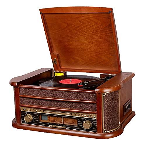 ZCYXQR Tocadiscos Tocadiscos con Altavoces: Bluetooth/Radio FM/Reproductor de casetes de CD/Discos LP/Lector de Tarjetas SD/Reproducción de Disco U (Tocadiscos de Reproductores)