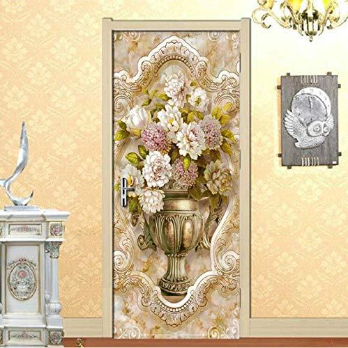 SUDIKE Florero de flores 3D pegatinas para puerta decoración del hogar, sala de estar, dormitorio, decoración de la puerta creativa extraíble autoadhesivo papel pintado