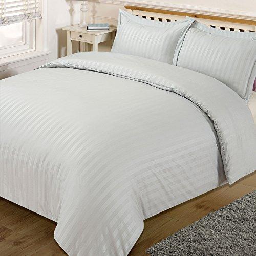 Dreamscene housse de couette superbe Satin rayé Parure de lit, argenté, simple