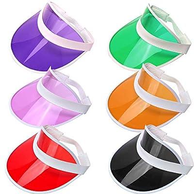 6 Pcs Sun Visor Hats, Unisex Women Men Kids Sports Ultralight Sun Shield Outfit accessory for Hen Parties, Fancy Dress, Pub Golf, Running, Tennis, Fishing, Baseball, Climbing ogging and other Sports