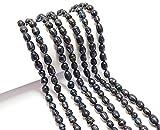 Perlas de agua dulce, perlas cultivadas de 10 mm, color negro antracita, grano de arroz natural, ovalado, barroco, piedras preciosas, perlas de concha, para enhebrar, perlas de agua fresca.