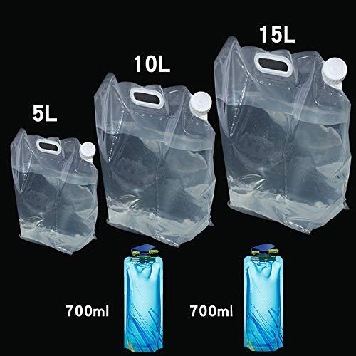 5 Stk (5L+10L+15L+2 × 0.7L) Wassertank Camping Wasserkanister Wasserbeutel Faltkanister Faltbar Wasserbehälter Wassertank Trinkwasser Behälter für Reise Wandern Jagd Reisen Outdoor Auto mit