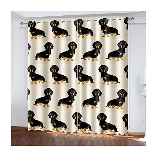 AMDXD 2 Paneles Cortina Poliester Opaca, Cortinas de Salon Elegantes Perro Tejonero Perro Modernas Decoración para Habitación, Amarillo Negro, 274cm (W) x 160cm (H)