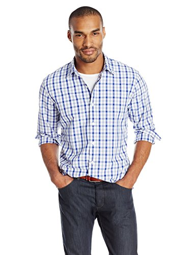 Goodthreads Men's Regular-Fit Long-Sleeve Checked Shirt, Blue/Grey, Medium