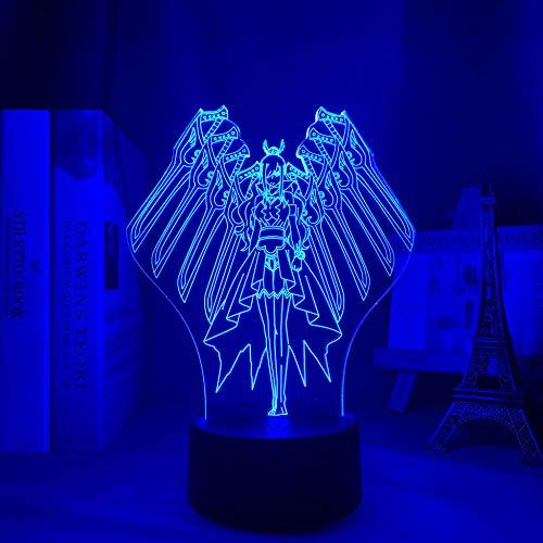Lámpara de noche 3D para niños y niñas, diseño de cola de hada con anime, lámpara 3D escarlata de Erza, luz decorativa LED, luz nocturna de cumpleaños, manga, lámpara de mesa, 16 colores