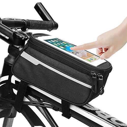 KIPIDA Rahmentasche Fahrrad, wasserdichte Fahrradtasche Rahmentaschen Oberrohrtasche mit Kopfhörerloch für Rennrad Mountainbike, Fahrrad Handytasche Handyhalterung für 6 Zoll Handy Smartphone
