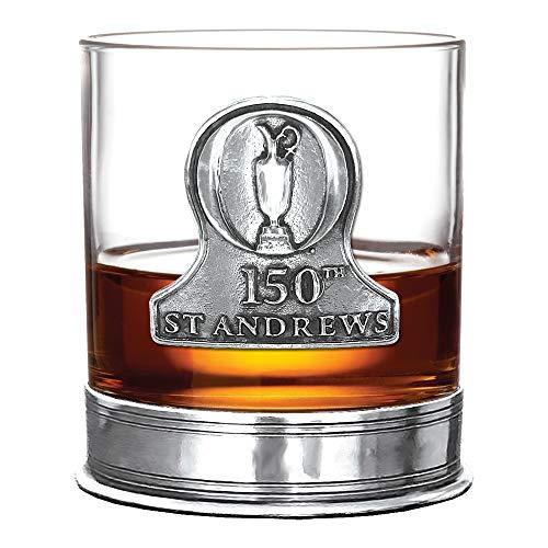 Vaso de whisky The 150th Open St Andrews – con licencia oficial de 12 oz Old Fashioned Whisky Rocks de English Pewter Company – Celebrating the 150th British Open – Fabuloso regalo de golf [BOP04]