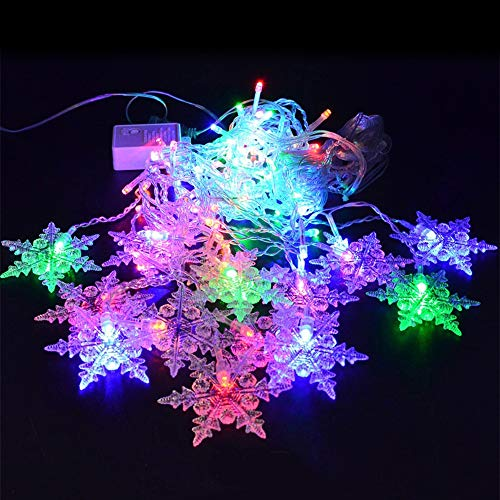 shudaonan 6 Pieces of Curtain Light Strips, with 16 Snowflakes and 96 LEDs, Warm White/White/Color Bedroom Wedding Party Dance Window Christmas Decorations can be Connected to The Starlight
