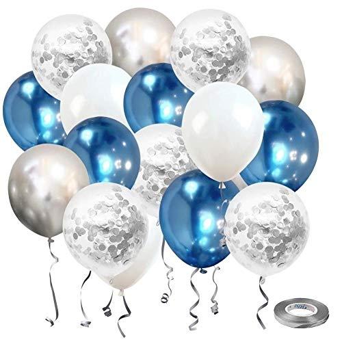 Sinwind Luftballons Blau Gold, 50 Stück Satz von Marineblau Luftballons, Metallic Luftballons Gold, Luftballons Weiß und Luftballons Konfetti Gold, Latexballons für Navy Partydeko, Baby Shower Junge