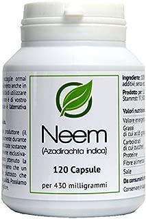 Neem (Azadirachta indica) 120 Cápsulas en caja para preservar el aroma por cada 430 miligramos