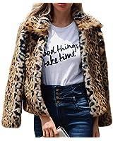 Gets Fashion Leopard Womens Faux Fur Jacket Shaggy Jacket Winter Fleece Coat Outwear Shaggy Shearling Jacket Fluffy Sherpa Teddy Coat (M)