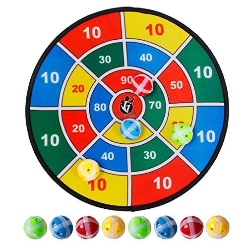 MAJOZ Dartscheibe Spiel für drinnen und draußen zum Aufhängen inkl. 8 Bälle mit Klettbeschichtung für festen Halt, Dart Wurf Spiel Scheibe für Groß und Klein, Klett Dartscheibe, Durchmesser 37 cm