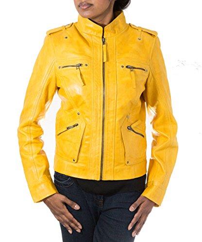 Damen Gelb aus weichem Leder Schlank Modisch Kill BillStil Motorradjacke