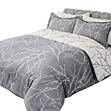 Bedsure Comforter Set Queen Size, Reversible Down Alternative Comforter Microfiber Duvet Insert Sets (1 Comforter + 2 Pillow Shams), Tree Branch Floral, Grey&Ivory