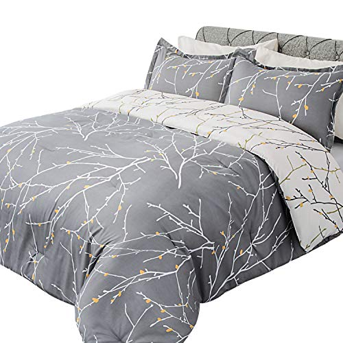 Bedsure Comforter Set Twin Size, Reversible Down Alternative Comforter Microfiber Duvet Sets (1 Comforter + 1 Pillow Sham), Tree Branch Floral, Grey&Ivory