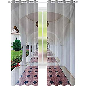 Window Treatments Curtains, Dome Arched Colonnade Hallway at Sambata De Sus Monastery in Transylvania Romania, W52 x L84 Curtains for Baby Nursery Room, White Green