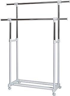 STORE IT-hylla – klädstång rullbart garderobstativ – Klädvagn dubbel klädhängare på rulle, metall/plast, 90–134 x 44 x 95–...