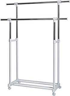 Store. It 670124 XXL rollkleide Support, Double Tringle à vêtements, métal/Plastique, Blanc, 90 x 44 x 95 cm
