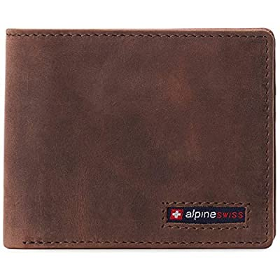 Alpine Swiss Mens RFID Safe Wallet Bifold Passcase Cowhide Leather Billfold Comes in Gift Box Distressed Brown