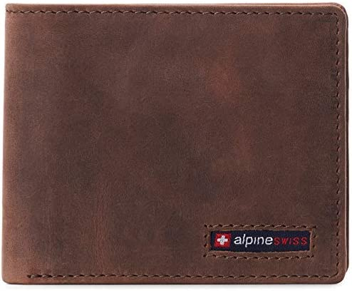 Alpine Swiss Mens RFID Safe Wallet Bifold Passcase Cowhide Leather Billfold Comes in Gift Box product image