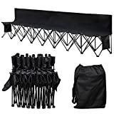 Yaheetech 8 Seats Portable Folding Bench Chairs For Camping Outdoor Waterproof Team Sports Sideline Bench with Backrest Black