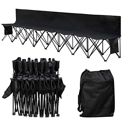 Yaheetech 8 Seats Portable Folding Bench For Camping Bench Chairs with Backrest Black