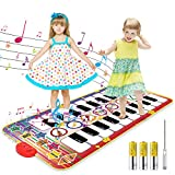 """Kids Musical Mat, 20 Keys Double-Keyboard Musical Piano Mat with 3AA Batteries and Screwdriver 8 Instruments Sounds, Dance Floor Mat for Boys Girls Toddlers and Kids, 55.1"""" x 27.6"""""""