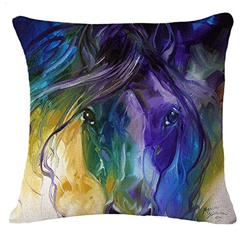 good01 Housse de coussin à motif de cheval à l'aquarelle motif tendance et décoratif, Lin, 2, 2. Abstract Horse