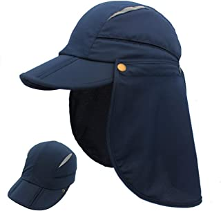 LLmoway Mens Fishing Caps Outdoor UV Protection Sun Hat with Neck Flap Quick Dry