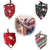 QIMMU Bandanas de Perro Pañuelo de Mascotas de Acción,Bandana para Perros,Pañuelo Bufanda de Mascota Navidad Baberos Lavables de Perros para Perros y Gatos (Estilo Papá Noel y Reno)