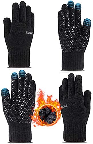 ITOWE 2 Pairs Womens Mens Gloves Winter Touch Screen Gloves Driving Running Cycling Texting product image