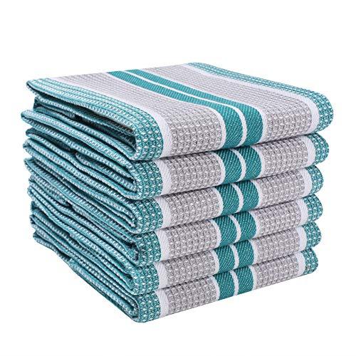 Light & Pro - Juego de 6 toallas de cocina, 100% algodón, estilo vintage, muy absorbente, de secado rápido, grado profesional, con lazo para colgar, panal, 45 x 28 pulgadas, color gris