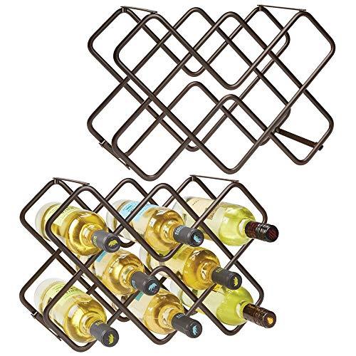 mDesign Juego de 2 muebles botelleros con capacidad total para hasta 16 botellas – Bonito estante para botellas en tres niveles – Botellero de metal de pie para vino y otras bebidas – color bronce