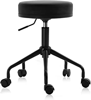DR.LOMILOMI Swivel Rolling Hydraulic Height Adjustable Stool 503 for Clinic Nursing Spas Beauty Salons Dentists Home Office (503 NEW, Black)