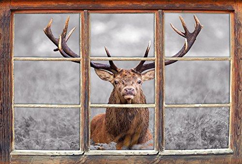 Stil.Zeit Großer Hirsch im Feld B&W Detail Fenster im 3D-Look, Wand- oder Türaufkleber Format: 92x62cm, Wandsticker, Wandtattoo, Wanddekoration