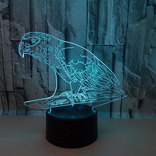 baby Q LED 3D Illusion Lampe, Lampe de Table Tactile colorée de Perroquet, Lampe d'alimentation d'énergie d'USB, Lampe à la Maison Acrylique