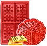 Moldes de Gofres,Silicone Waffle Moldes 2 Pack Antiadherentes Gofres para Hornear Galletas para Tarta Muffin Cocina Herramientas, para Lavavajillas, Horno, Microondas, Refrigerador