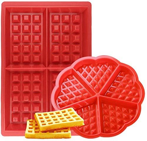 Stampo per Waffle,Antiaderenti Stampi per Waffle in Silicone 2 pezzi Forno Microonde Stampi per Biscotti Set per Lavastoviglie, Forno, Microonde, Freezer