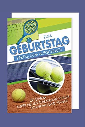 Tennis Hobby Sport Geburtstag Karte Grußkarte Schwung Power 16x11cm