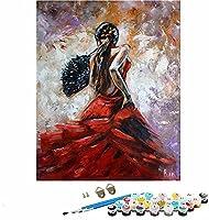 DIY 数字油絵_女の子の肖像画のイラスト_キャンバスの油絵大人_数字キットでペイントホームデコレーション_40x50cm_フレームレス